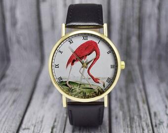 Pink Flamingo | Bird Watch | Vintage Style Watch | Leather Watch | Ladies Watch | Men's Watch | Wedding | Birthday | Gift Ideas | Accessory