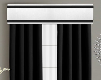 Ribbon Cornice Board Pelmet Box Window Treatment in White with Black Edge Band Decorative Trim Border - Custom Curtain Topper Box Valance