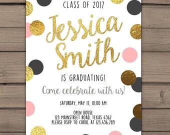 Graduation invitation Class 2017 Graduation party Black Gold Polka Dots Photo invitation Graduation Party Gold Coral Pink PRINTABLE Digital