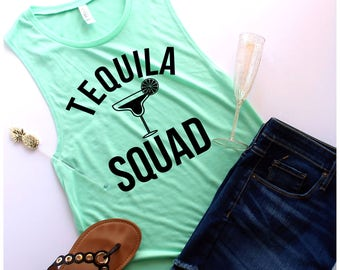 Tequila Squad Muscle Tank, Customize Your Colors, S-XL, Workout Tank, Bachelorette Party Shirts, Cinco de mayo shirt