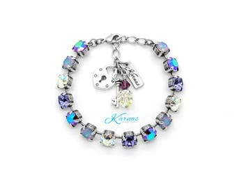 AMETHYST RAINBOW 8mm Bracelet Made With Swarovski Crystal *Pick Your Finish *Karnas Design Studio *Free Shipping*