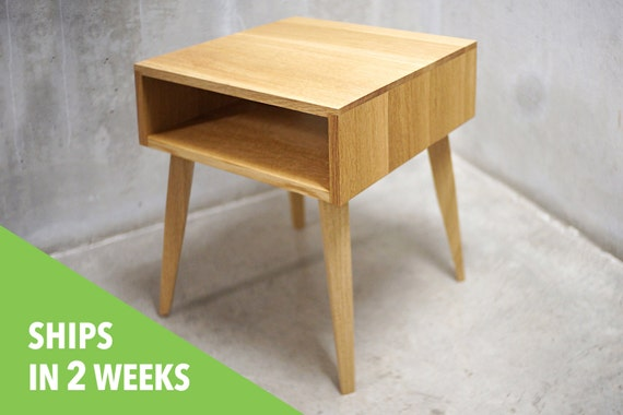 Solid White Oak Side Table / Nightstand With Tapered Legs