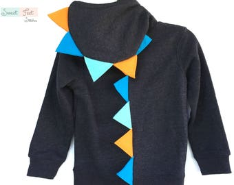 Size 6 Gray Dinosaur Hoodie with Blue & Orange Spikes