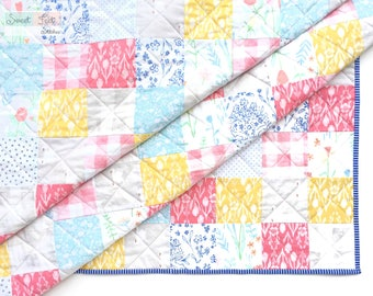 Bright Baby or Toddler Quilt in Pink, Yellow, Blue, & Gray
