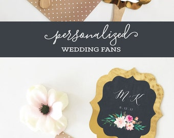 Wedding Fans Personalized Hand Fans Wedding Fan Favors Rustic Wedding Favors Paddle Fans Ceremony Fans Floral Wedding (EB3204GDN) 24| pcs