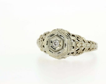 1920's 18k gold diamond ring