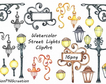 Watercolor Street Lights Clipart, street lamps clip art, transparent backgrounds, Digital, PNG, For Personal and Commercial Use