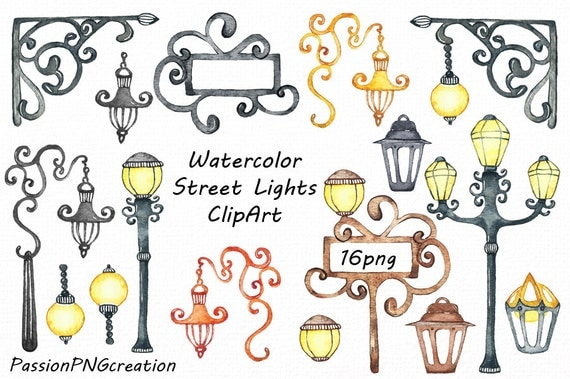 Watercolor Street Lights Clipart Lamps Clip Art Transparent Backgrounds Digital PNG For Personal And Commercial Use From PassionPNGcreation On