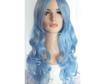 Long curly light blue wig with side bangs -high quality wig
