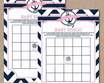 INSTANT DOWNLOAD, Nautical Baby Shower Bingo Game, Printable Shower Games, Baby Shower Games, Nautical, Bingo game,  Pink, #0012