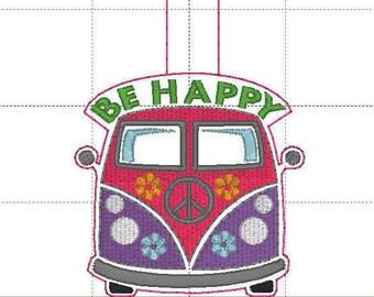 VW Van Key fob embroidery design