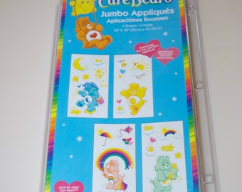 "Care Bears Jumbo Appliques Stickers 10"" x 18"" 4 Sheets"