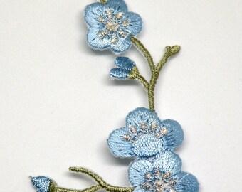 Blossom, Blue flower blossom, blue blossom, flower gift, blossom décor, blossom gift, Iron on flower patch