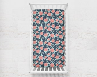Fitted Crib Sheet Paeonia in Coral Mint Navy. Floral Baby Bedding. Navy Fitted Crib Sheet. Floral Baby Bedding. Vintage Floral Sheet.