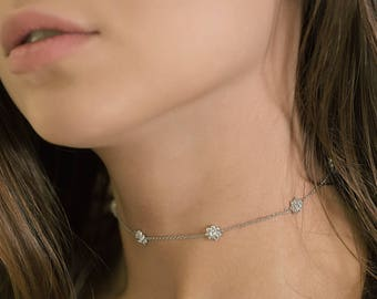 Crystal Silver Choker Necklace, Prom Jewelry, Bridal Wedding Jewelry, Evening Necklace, Silver Choker Necklace, Silver Jewelry N057S