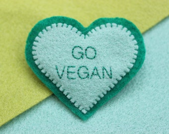Felt heart brooch pin badge green mint GO VEGAN