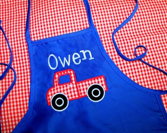 Royal Blue Apron w/ Red Pick Up Truck Applique for Toddler/Child - Personalized w/ Name