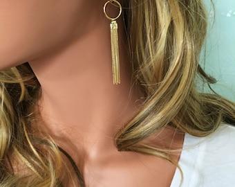 Gold Tassel Earrings // Statement Earrings // Tassel Earrings // Long Gold Earrings // Tassel Jewelry // Statement Jewelry
