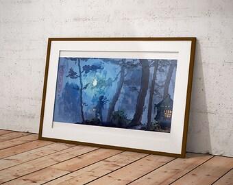 Pixel Art Mountain Scene- Digital Pixel Art Print