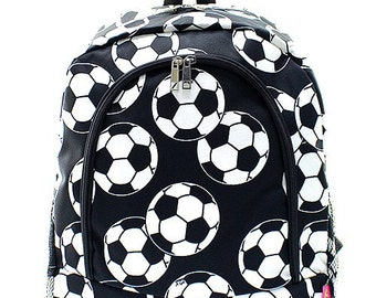Personalized Soccer Ball Print Backpack * Bookbag with Monogram or Name * Custom Monogrammed Book bag * Embroidered Gift