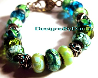 Teal and Green European Charm Bracelet Crystals Glass Beads Rhinestone Pugster Spacers Silver Heart Clasps Light Blue Faux Leather Band