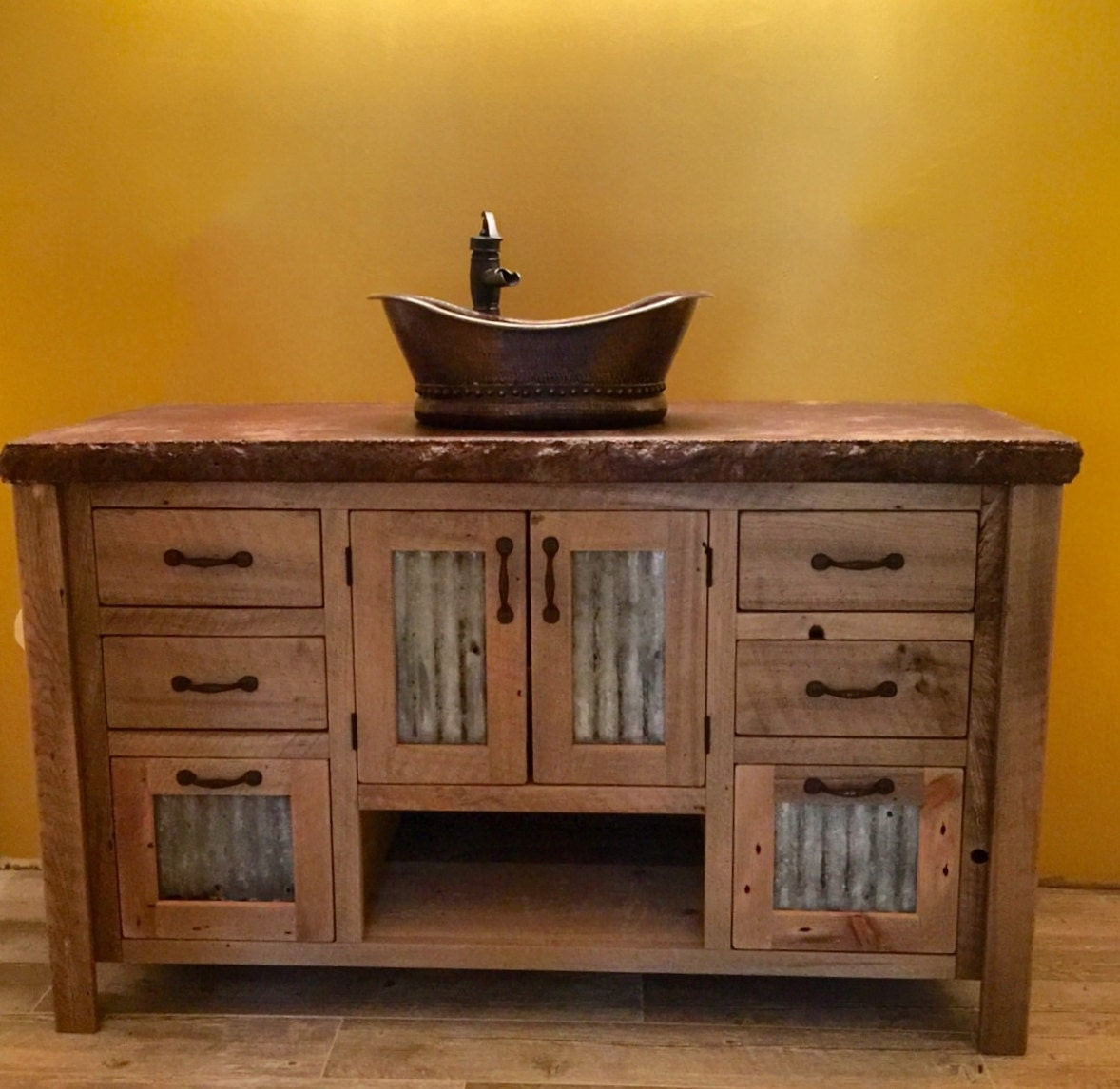 Rustic Vanity 48 Reclaimed Barn Wood w\/Tin Doors