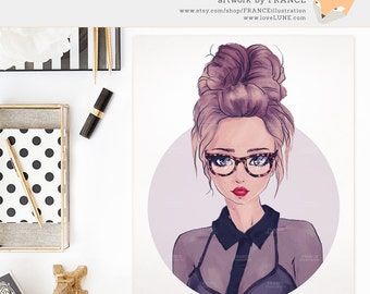 Blog Girl Avatar. Premade Fashion Illustration. Handdrawn Artwork of a Brunette with Tortishell Glasses and Sheer Blouse. Fashionista Art.
