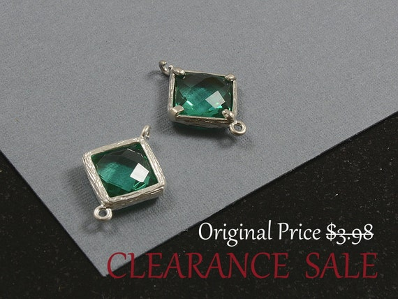SALE - Emerald Green Framed Glass Bezel Diamond/ Square Shape Connector 12mm x 17mm in Silver Plating - 2 pcs/ order