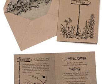 Woodland, forest, hand drawn, wedding invitation, vintage, Map, hand-fasting Country wedding, Rustic Wedding, Personal, kraft folded card