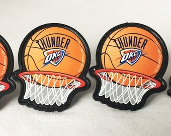 12 Oklahoma City Thunder Cupcake Rings NBA Basketball Toppers Party Favors