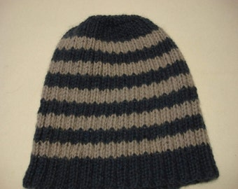 Beanie Hat - Grey - Blue Stripe