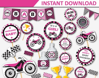 Motorcycle Baby Shower - Dirt Bike Baby Shower Decor - Motorcross Baby Shower - Printable Baby Shower - Pink Baby Shower (Instant Download)