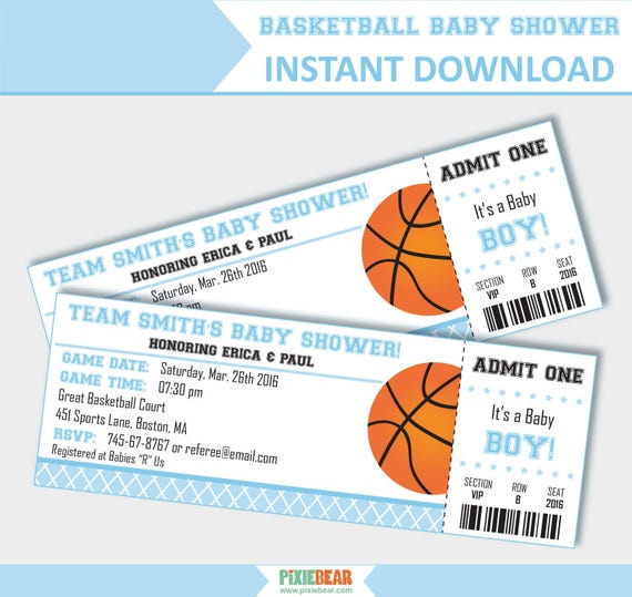Basketball Baby Shower Invites   Blue Baby Shower Invitation   Basketball  Invitation   Ticket Invitation   For Boys (Instant Download)