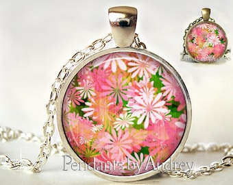 Flower Pendant, Flower Necklace, Flower Jewelry,Pink Flower, Daisy,Charm, Glass, Gift, Picture, Art, Print,