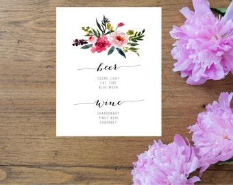 Printable wedding drink menu, wedding drinks menu, wedding drink sign, printable drinks sign, wedding drinks signage