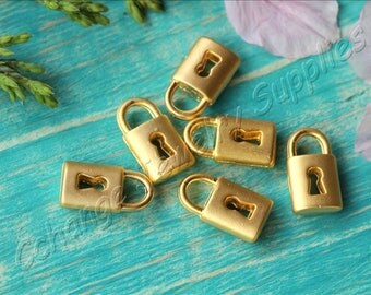 5 pcs Gold Lock Charms, (14mm x 8mm) Gold Lock Charms, 24k Matte Gold Plated Lock Pendants, Metal Gold Lock Pendants, Lock Charms / GPY-255