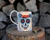 sugar skull ceramic mug with tridimensional roses, Made to Order