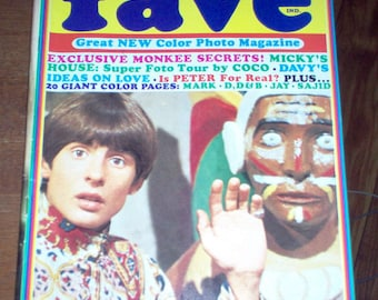 Fave Magazine 1968 The Monkees Davy Jones Mike Nesmith Leonard Nimoy Vintage Classic Rock & Roll Music Collectible