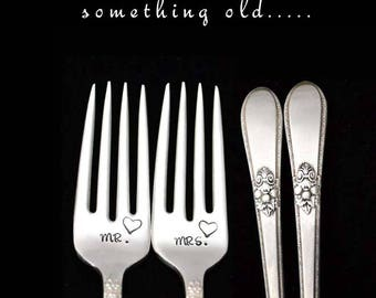 Mr and Mrs Wedding Forks, Something Old Hand Stamped Vintage Silverware, Engagement Bridal Gift for Couple,  Adoration Silver Plate