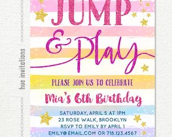 jump birthday invitation, rainbow girls 6th birthday invitation, tumble and play jump party trampoline birthday bounce house, stars gold