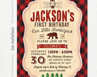 lumberjack first birthday invitation, boys rustic little bear cub plaid flannel birthday party, winter christmas birthday invitation