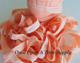 Soft Peach Fold Over Elastic for Baby Headbands - 5 Yards of 5/8 inch FOE - Craft Embellishment - Solid Color Colour Elastic By The Yard