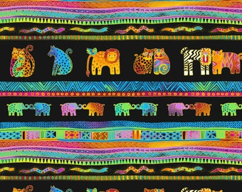 Laurel Burch Mythical Jungle Border Stripe Fabric Y2135-3M; Third Yard, Half Yard or By-The-Yard; Clothworks; Metallic fabric; Animal fabric