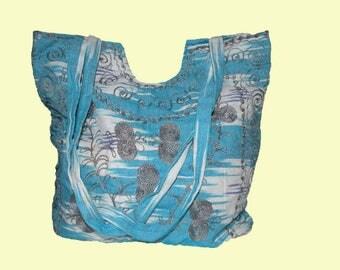 Blue White Bohemian Gypsy Bag - Hippie Messenger Purse - Suzani Blue Bag - Silk embroidered bag - Boho bag - Blue Damask Purse - Damask Bag