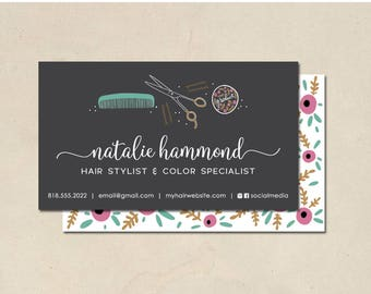 printable - hair stylist business cards - hand illustrated - hair stylist - color specialist - custom - small business - calling cards - DIY