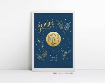 Gemini, zodiac art print, star sign, astrology gifts, birthday gift