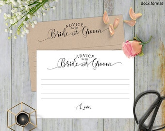 Wedding advice cards, Advice for the bride and groom, printable cards, templates, wedding cards, Instant download,#S2-ABG