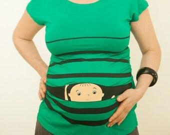 FREE SHIPPING, funny pregnancy tshirt, announcement maternity shirt, new mom tshirt, cute peekaboo tunic, baby peeking out top, gift idea
