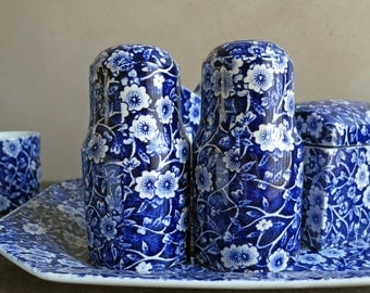 Crownford Blue Calico Salt Pepper Shakers by Royal Crownford China, Blue and White Chintz Transfer Ware Staffordshire England
