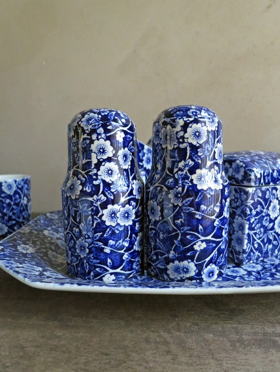 Crownford Blue Calico Salt Pepper Shakers By Royal Crownford